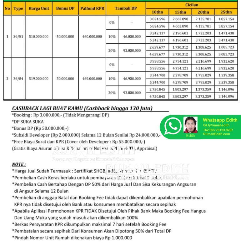 Perumahan khusus Muslim di Depok – DP 0 – Ready Stock 500 jutaan