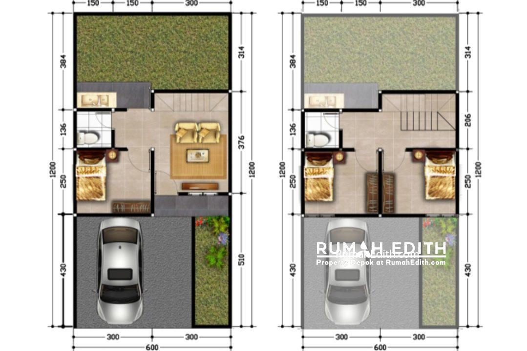 rumah edith Cluster 2 lantai nempel kawasan GDC free biaya2, booking 5 juta 500 jutaan 5