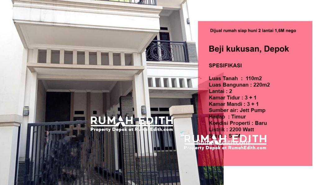Dijual rumah siap huni 2 lantai 1,6M nego di pinggir jln raya asmawi Beji kukusan