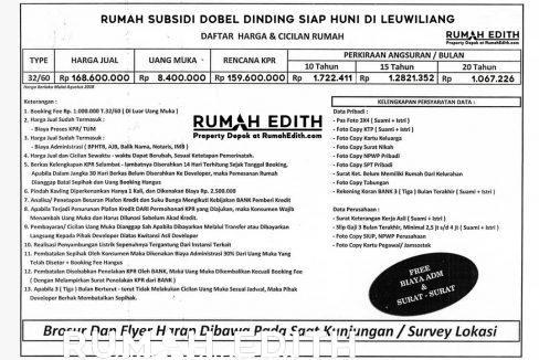 Rumah subsidi dobel dinding siap huni di leuwiliang Bogor Barat 10