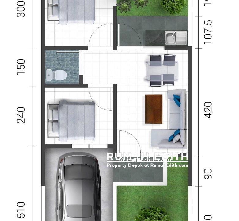 rumah edith Cluster di Jln Sukahati Cibinong Bogor, Harga 420 Jt'an 6